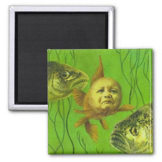 Goldfish Baby Mutant Design Square Magnet