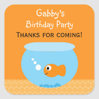Goldfish Birthday Party Favour Stickers