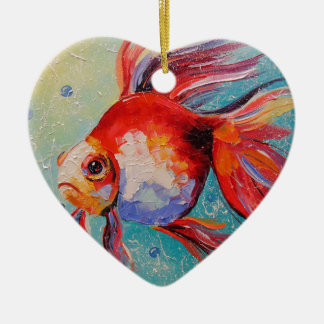 Goldfish Ceramic Heart Decoration
