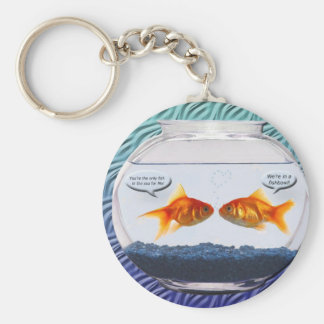 Goldfish fishbowl humor key ring