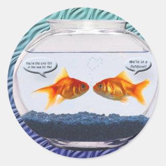 Goldfish fishbowl humor stickers