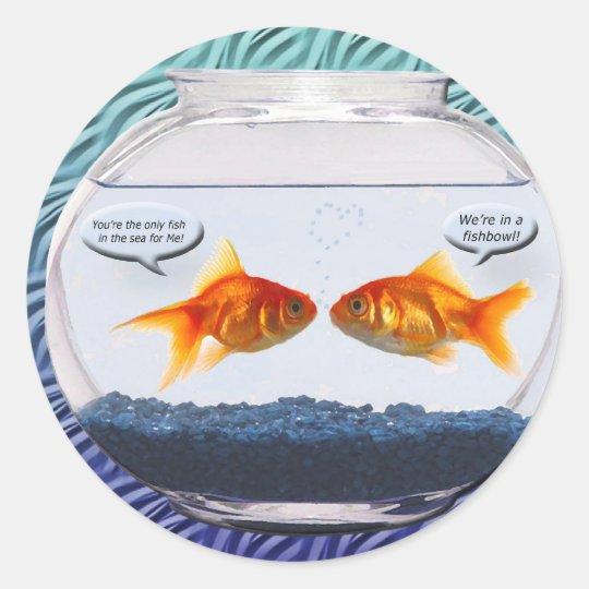 Goldfish fishbowl humour classic round sticker