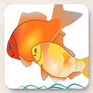 Goldfish Friends Print Design Coaster