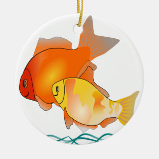 Goldfish Friends Print Design Round Ceramic Decoration