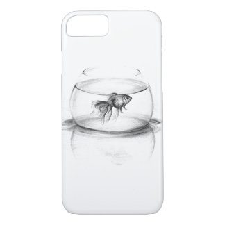 Goldfish in a bowl pencil art iPhone 7 case