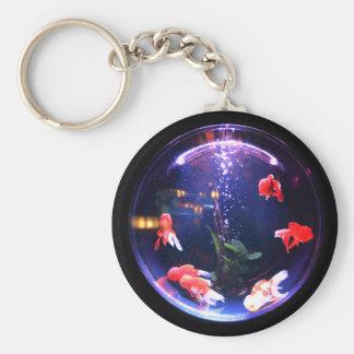Goldfish in a fish bowl keychain. key ring