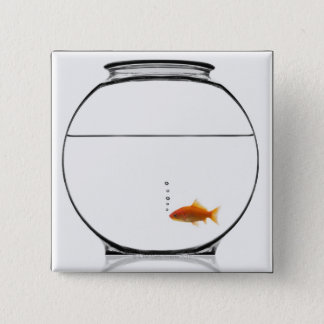Goldfish in bowl 15 cm square badge