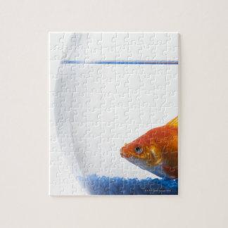 Goldfish in bowl on white background jigsaw puzzle
