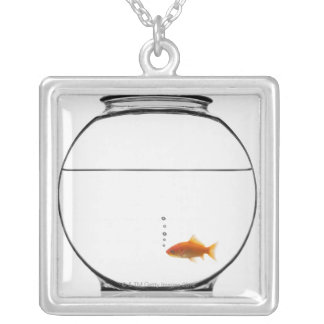 Goldfish in bowl silver plated necklace