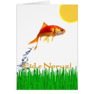 Goldfish Jumping Persia New Year Eid e Noruz Greeting Card