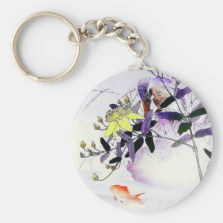 Goldfish Kingfisher Japanese print Key Ring