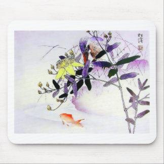 Goldfish Kingfisher Japanese print Mouse Mat