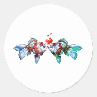 Goldfish Kiss Classic Round Sticker