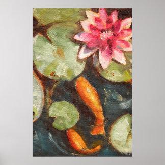 Goldfish Koi Pond Water Lilies Print