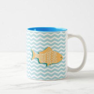 Goldfish on aqua blue chevron Two-Tone coffee mug