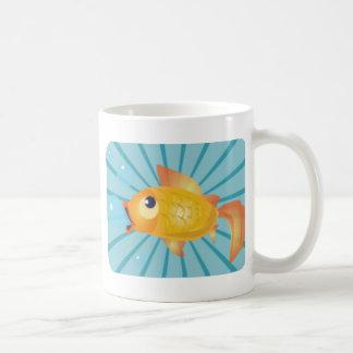 Goldfish On Blue Stripes Coffee Mug