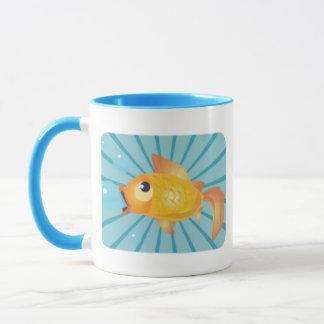 Goldfish On Blue Stripes Mug