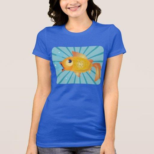 Goldfish On Blue Stripes T Shirts