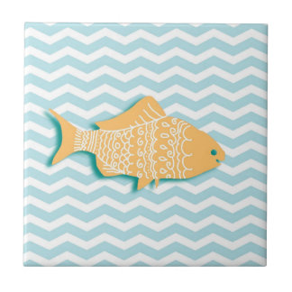 Goldfish on mint blue chevron tile