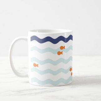 Goldfish Pattern Nautical Wave Mug