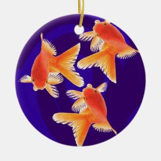 Goldfish Round Ceramic Decoration