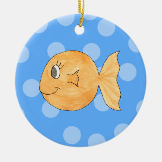 Goldfish. Round Ceramic Decoration