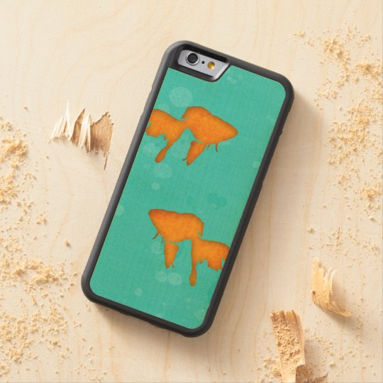 Goldfish silhouettes turquoise water byEDrawings38 Maple iPhone 6 Bumper