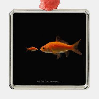 Goldfish Silver-Colored Square Decoration