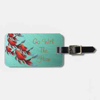 Goldfish swimming on blue, Asian Art Luggage Tag
