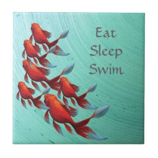 Goldfish swimming on blue, Asian Art Small Square Tile