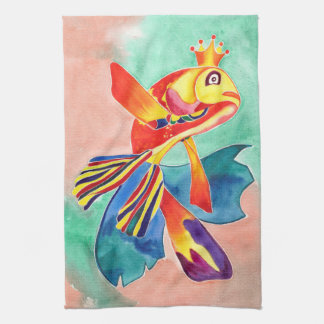Goldfish the Sea Queen design kitchen/hand towel