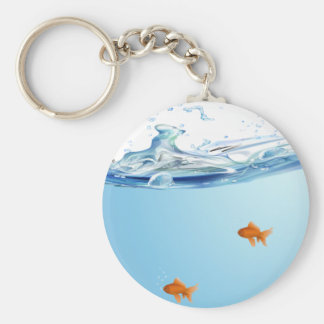 Goldfish under water aquarium key ring