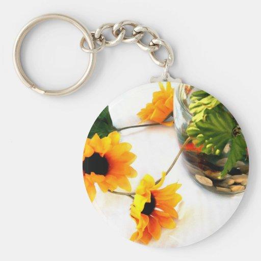 Goldfish wedding centerpiece sunflower photograph basic round button key ring