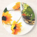 Goldfish wedding centerpiece sunflower photograph coaster