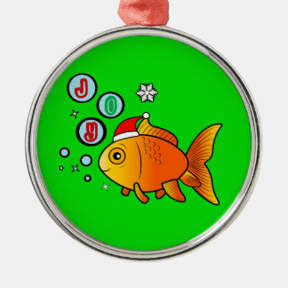 Goldfish with Santa Hat and Bubbles of Joy Christmas Ornament