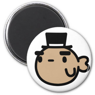 Goldfish With Top Hat 6 Cm Round Magnet