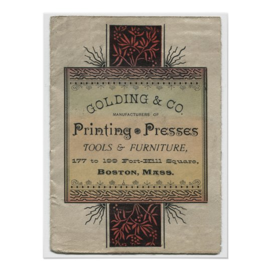 Golding letterpress printing press advertisement poster