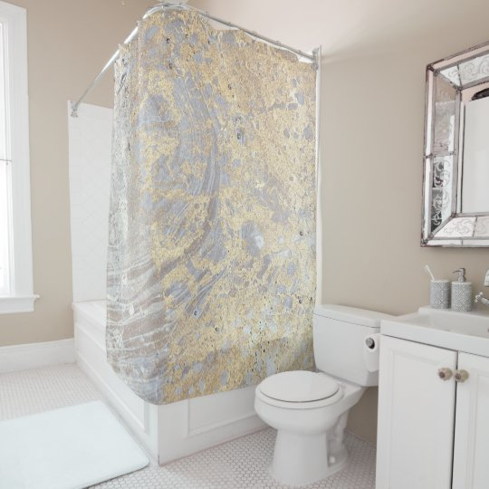 Goldish Beige Grey Marble Pattern Shower Curtain