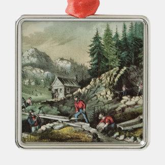 Goldmining in California, 1871 Christmas Ornament