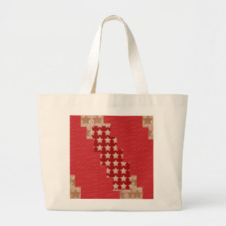 GOLDSTAR Constellation on Silky Red Fabric Pattern Canvas Bags