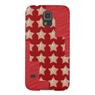 GOLDSTAR Constellation on Silky Red Fabric Pattern Cases For Galaxy S5