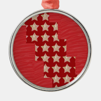 GOLDSTAR Constellation on Silky Red Fabric Pattern Silver-Colored Round Decoration