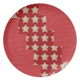 GOLDSTAR Constellation on Silky Red Fabric Pattern Plates