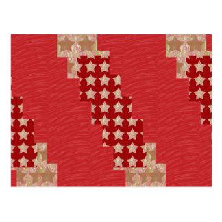 GOLDSTAR Constellation on Silky Red Fabric Pattern Postcard