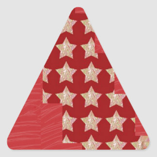 GOLDSTAR Constellation on Silky Red Fabric Pattern Triangle Sticker