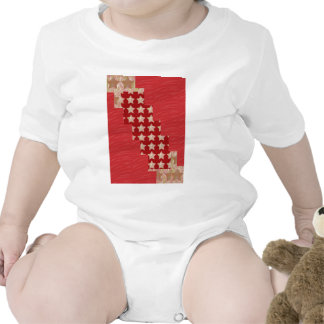 GOLDSTAR Constellation on Silky Red Fabric Pattern Rompers