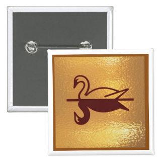 Goldstar Swan Bird Lake - Medal Icon Gold Base 15 Cm Square Badge