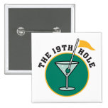 golf 19th hole drink time humour 15 cm square badge