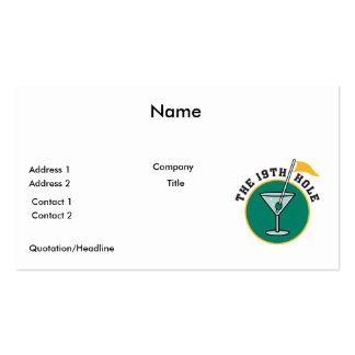golf 19th hole drink time humour business card templates