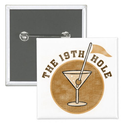 Golf 19th Hole T-shirts and Gifts 15 Cm Square Badge